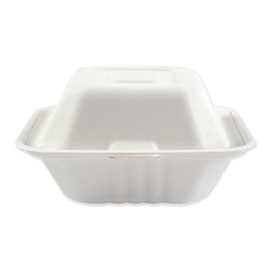 "Bagasse Carryout White 6""x6""x3.2"" 1-Sec 1000/cs"