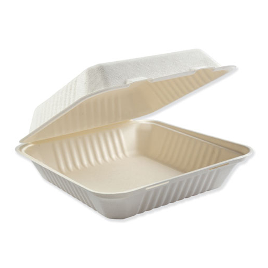"""Bagasse Carryout White 1-comp. 9""""x9"""" 200/cs"""