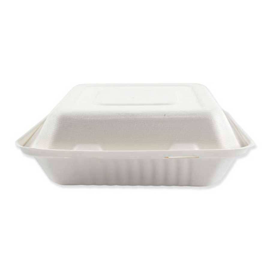 "Bagasse Carryout White 9""x9""x3.2"" 3-Sec 200/cs"