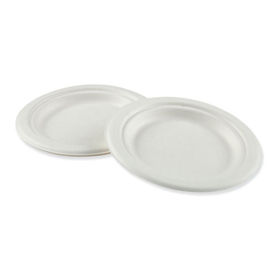 "Bagasse Plate 6"" White Compostable 1000/cs"