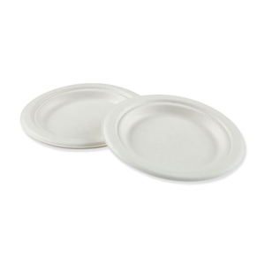 """Bagasse Plate 6"""" White Compostable 1000/cs"""