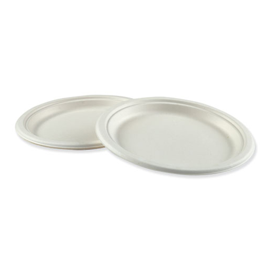 "Bagasse Plate 9"" White Compostable 500/cs"