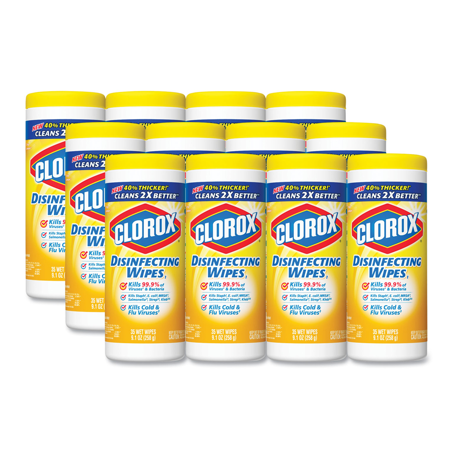 "Clorox Disinfectant Wipe Lemon 7""x8"" 35/cn 12/cs"