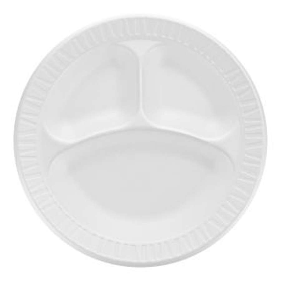 "Foam Plate 10.25"" 3Sec White 500/cs"