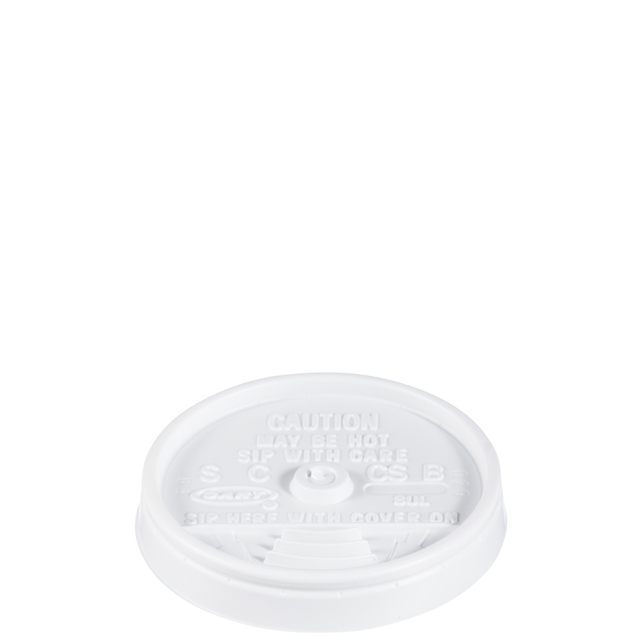 Foam Cup Lid Sip Thru For 8oz White 500/cs