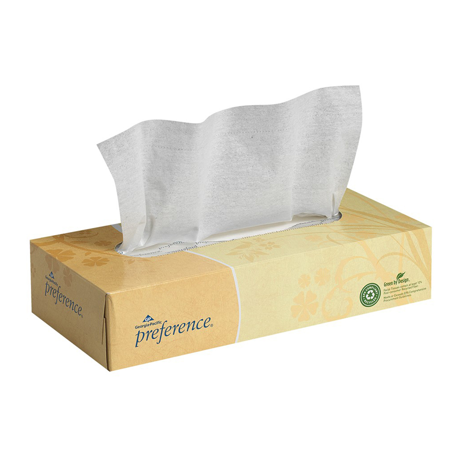 Facial Tissue Preference Flat 2-Ply 100/bx 30/cs