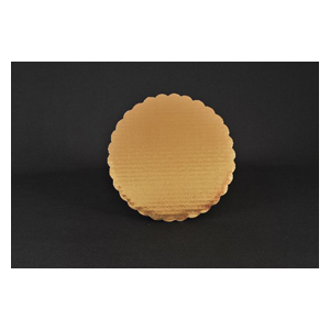 "10"" Gold Scalloped Cake Circle Corrugated 200/cs"
