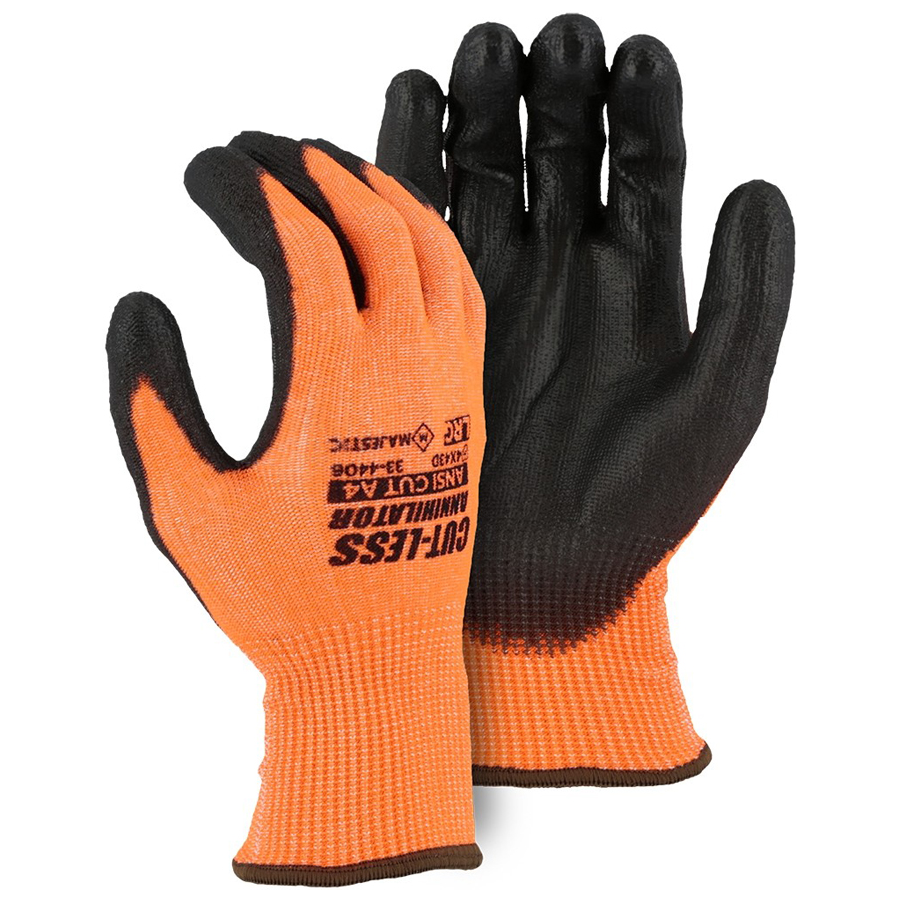Coated Glove Cut-Less Hi Visibility Orange MED