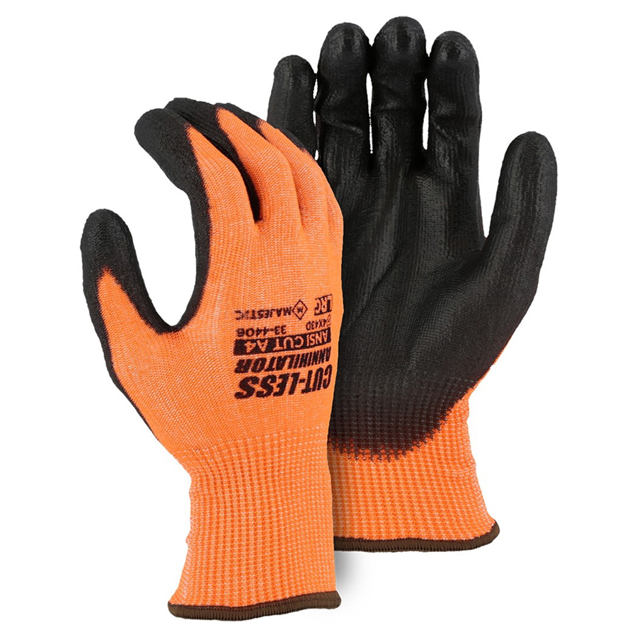 Coated Glove Cut-Less Hi Visibility Orange XS