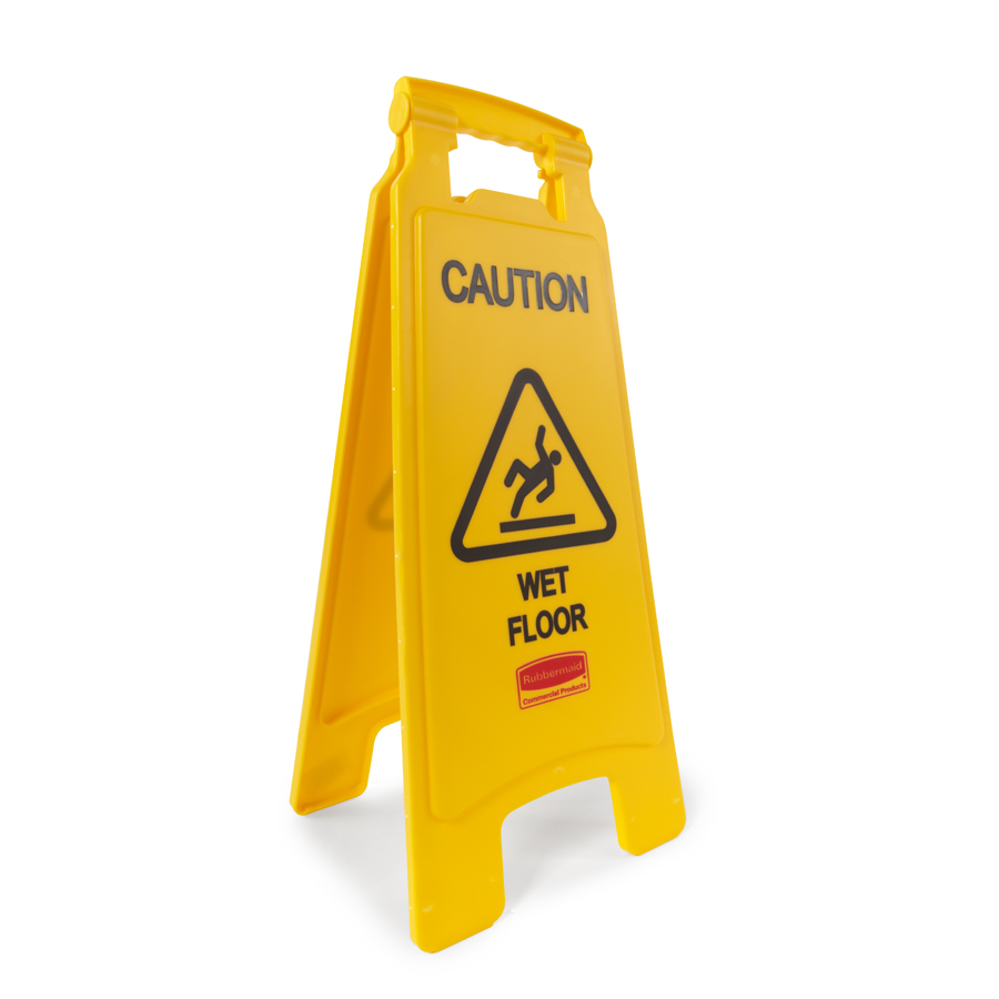 "Caution Wet Floor Sign Yellow 2 Side 25"" Each"