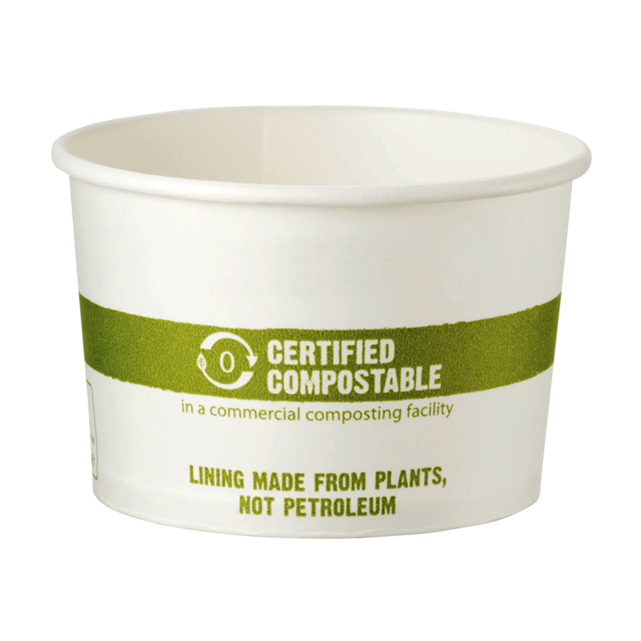 Biopolymer Bowl 8oz Wht Compostable 1000/cs