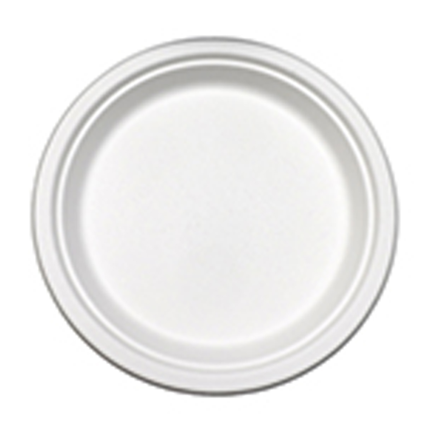 """Bagasse Plate 9"""" White Compostable 500/cs"""
