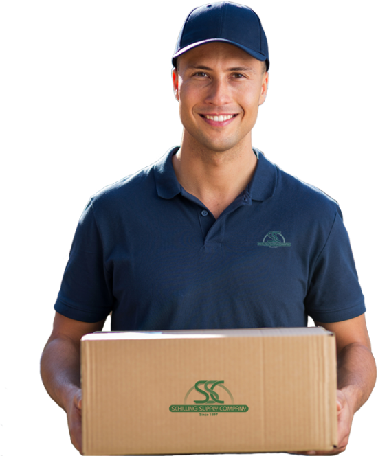smiling delivery man with a Schilling Supply shirt and carrying a box with Schilling Supply logo on it